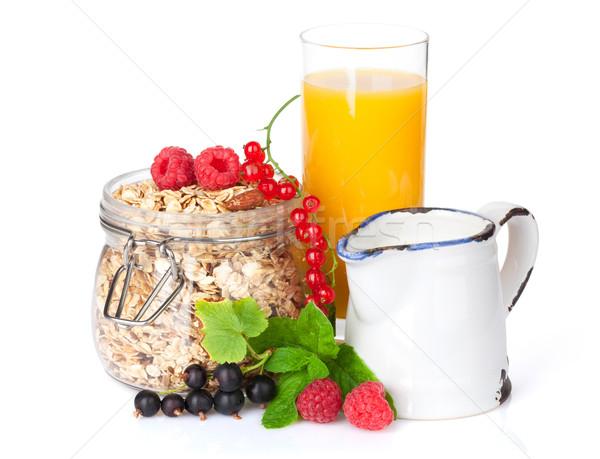 Ontbijt müsli bessen sinaasappelsap geïsoleerd witte Stockfoto © karandaev