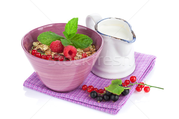 健康 朝食 ミューズリー ミルク 液果類 孤立した ストックフォト © karandaev