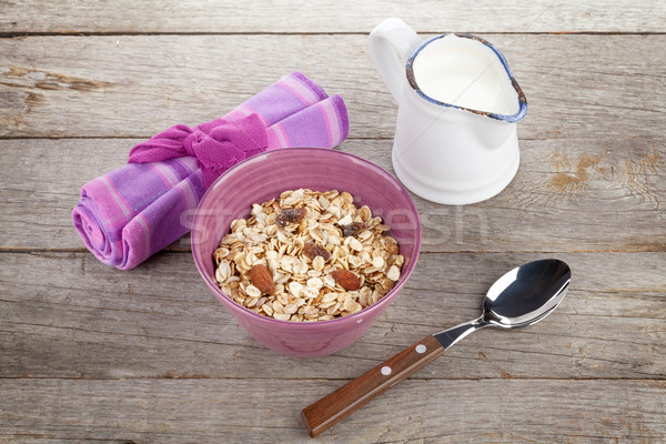 健康 朝食 ミューズリー ミルク 木製のテーブル 表 ストックフォト © karandaev