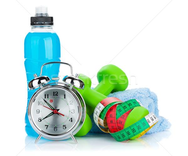 Twee groene meetlint drinken fles wekker Stockfoto © karandaev