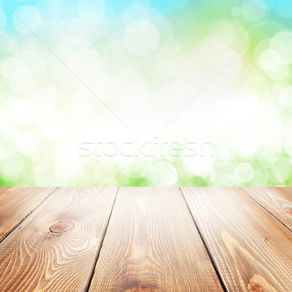 Summer nature background with wooden table Stock photo © karandaev
