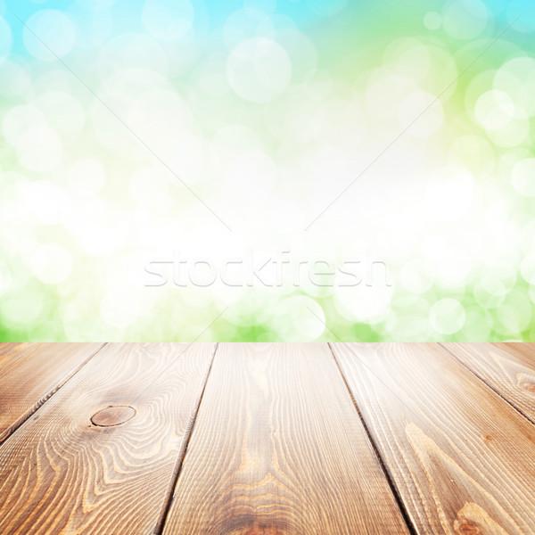 Nyár természet fa asztal elmosódott bokeh textúra Stock fotó © karandaev
