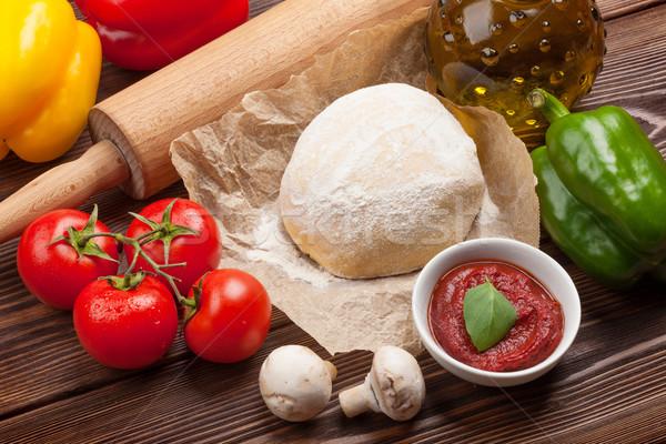 Stock fotó: Pizza · főzés · hozzávalók · zöldségek · fűszer · étel