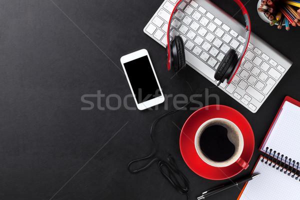 Foto stock: Oficina · cuero · escritorio · pc · taza · de · café