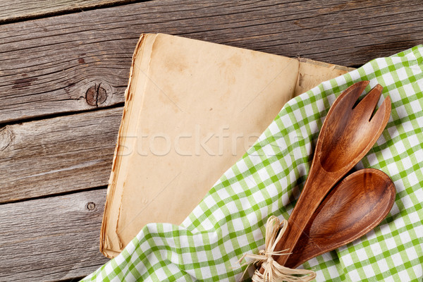 Stock photo: Blank vintage cooking book and utensils