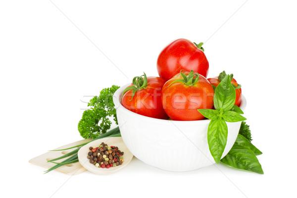 Maduro tomates albahaca perejil cebolla especias Foto stock © karandaev