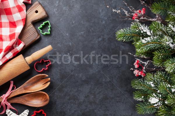 クリスマス 料理 ツリー 雪 石 ストックフォト © karandaev