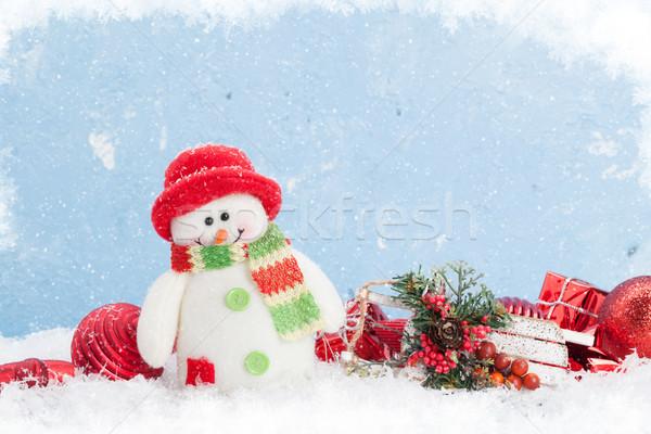 Natal boneco de neve decoração neve azul stonewall Foto stock © karandaev