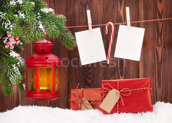 Natale candela lanterna foto fotogrammi focus Foto d'archivio © karandaev