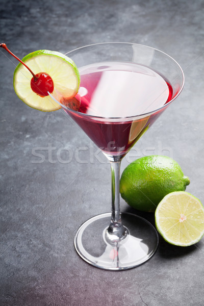 Сток-фото: космополитический · коктейль · темно · каменные · таблице · вечеринка
