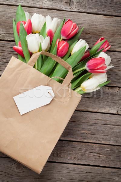 Stock fotó: Színes · tulipánok · táska · papírzacskó · fából · készült · piros