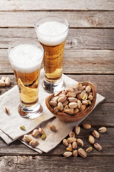Alman birası bira gözlük ahşap masa ahşap Stok fotoğraf © karandaev