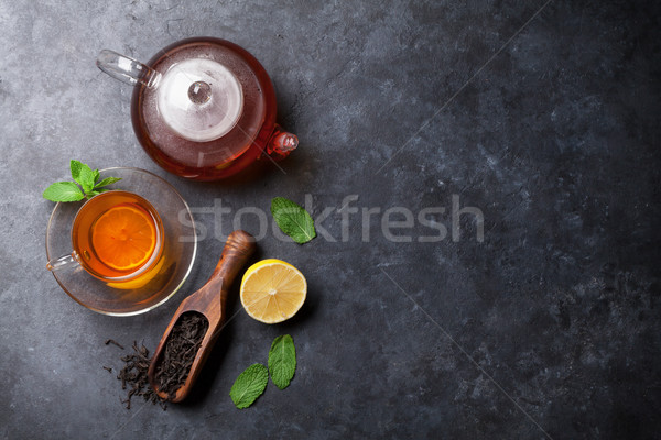 Theepot drogen thee lepel steen Stockfoto © karandaev