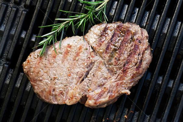 Gegrild biefstuk rosmarijn koken top Stockfoto © karandaev