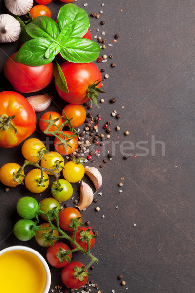 Stock photo: Tomatoes, basil, olive oil and spices