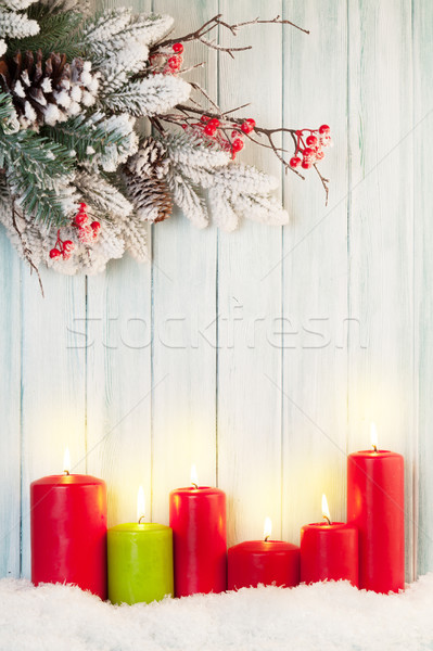 Karácsony gyertyák fenyőfa hó fából készült fal Stock fotó © karandaev