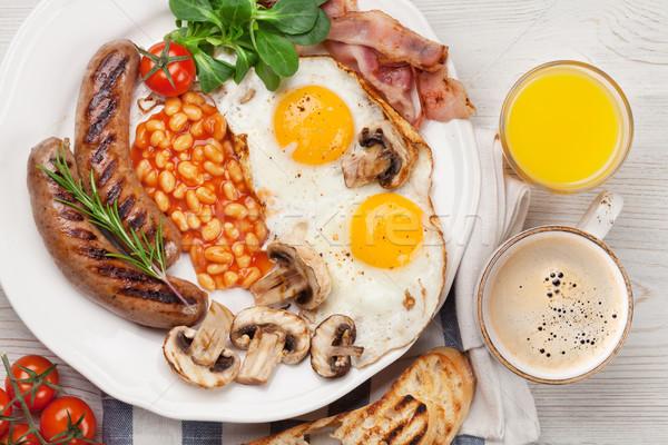 Stockfoto: Engels · ontbijt · eieren · worstjes · spek