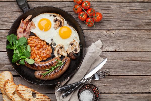 İngilizce kahvaltı yumurta sosis domuz pastırması Stok fotoğraf © karandaev