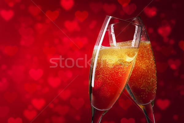 Boldog valentin nap piros szívek kettő pezsgő Stock fotó © karandaev