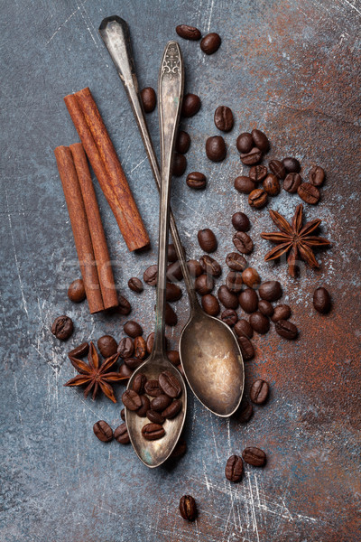 Coffee beans and spices Stock photo © karandaev