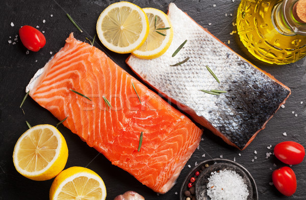 Somon balık fileto baharatlar pişirme Stok fotoğraf © karandaev