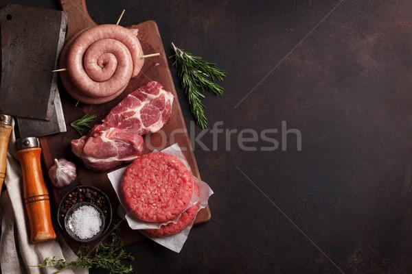 Carne salsichas bacon topo ver Foto stock © karandaev