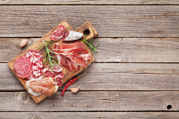 Salami, sliced ham, sausage, prosciutto Stock photo © karandaev