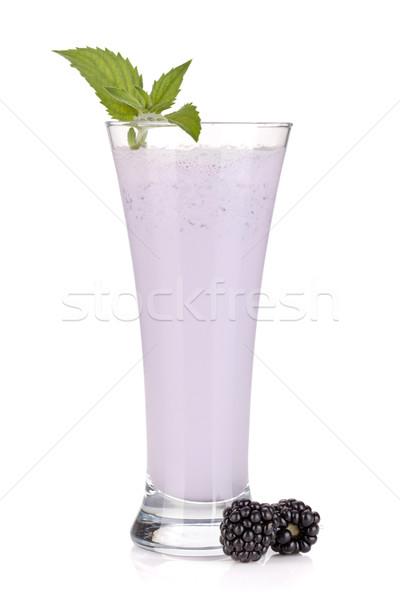 ブラックベリー ミルク スムージー ミント 孤立した 白 ストックフォト © karandaev