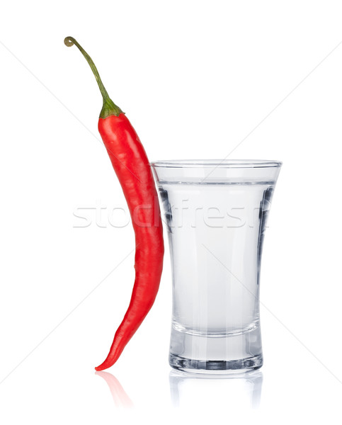 Shot of vodka and red hot chili pepper Stock photo © karandaev
