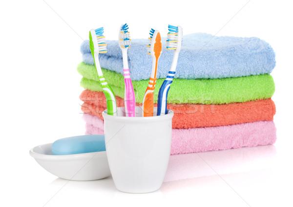 Quattro colorato sapone asciugamani isolato bianco Foto d'archivio © karandaev