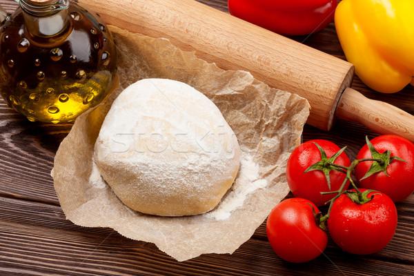 пиццы приготовления Ингредиенты овощей специи фон Сток-фото © karandaev