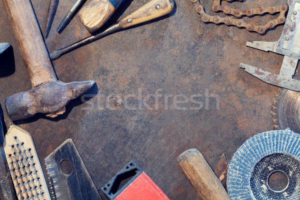 Workbench metal table with old tools Stock photo © karandaev