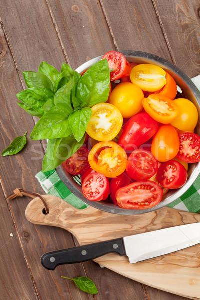 Stockfoto: Vers · kleurrijk · tomaten · basilicum · tabel · olie
