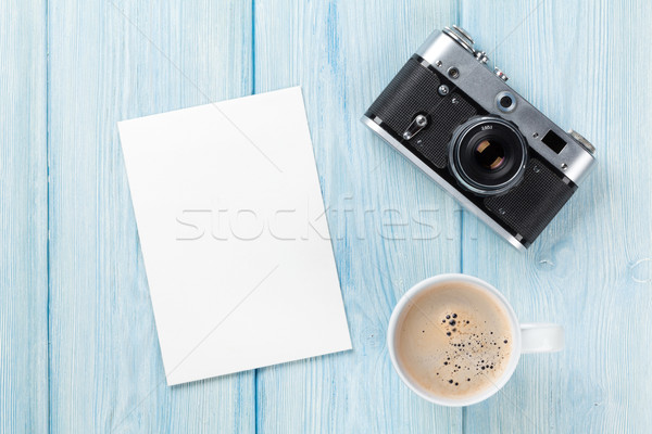 Blank photo frame, camera and coffee cup Stock photo © karandaev