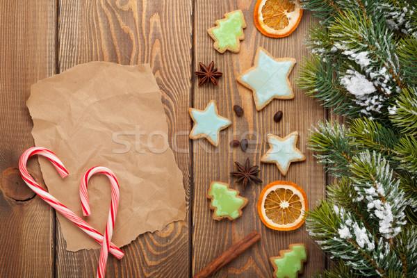 Karácsony fából készült hó fenyőfa fűszer mézeskalács Stock fotó © karandaev