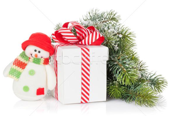Christmas geschenkdoos sneeuwpop speelgoed Stockfoto © karandaev