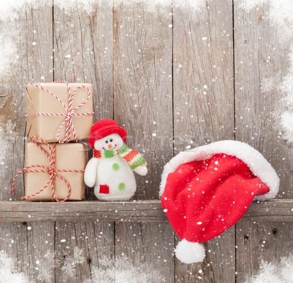 クリスマス ギフトボックス サンタクロース 帽子 雪だるま おもちゃ ストックフォト © karandaev
