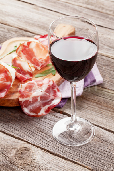 Prosciutto and mozzarella with red wine Stock photo © karandaev