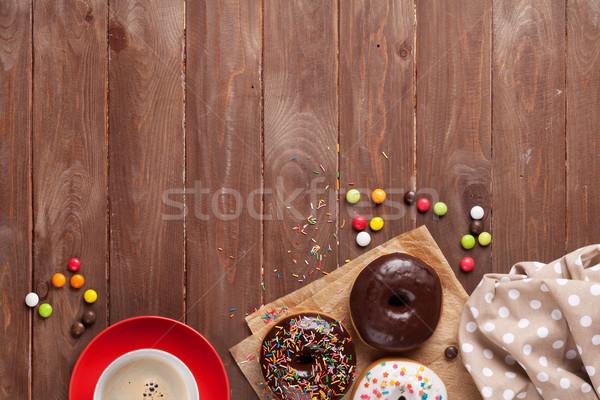 Kahve ahşap ahşap masa üst görmek Stok fotoğraf © karandaev