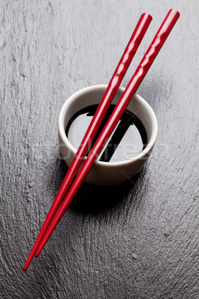 Японский суши палочки для еды соевый соус чаши черный Сток-фото © karandaev