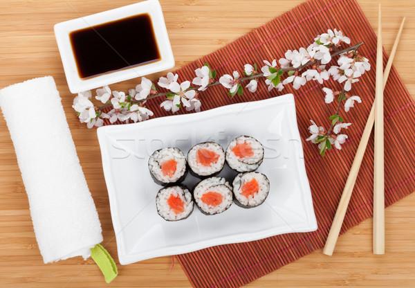 Sushi maki conjunto sakura ramo bambu Foto stock © karandaev