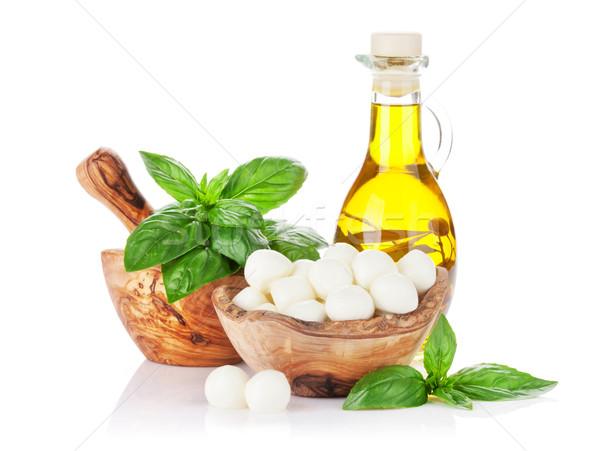 Mozzarella sajt olaj bazsalikom olívaolaj gyógynövény Stock fotó © karandaev