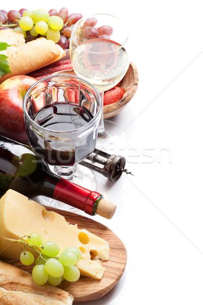 Wijn druif kaas worstjes Rood witte wijn Stockfoto © karandaev