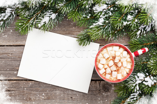 Christmas greeting card with fir tree and hot chocolate with mar Stock photo © karandaev