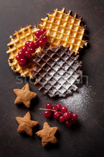 Karpuzu taş tablo üst görmek gıda Stok fotoğraf © karandaev