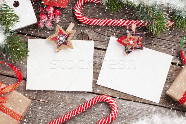 Christmas blank photo frames, decor and fir tree Stock photo © karandaev