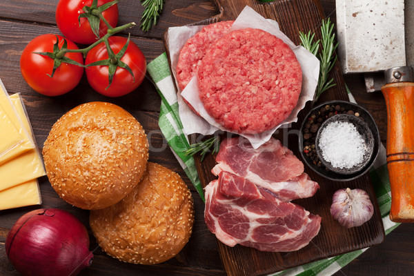 Сток-фото: вкусный · гриль · Burger · приготовления · говядины