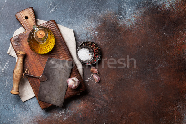 ヴィンテージ キッチン スパイス まな板 料理 ストックフォト © karandaev