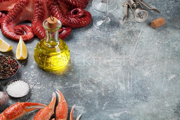 Stock fotó: Tengeri · hal · polip · homár · főzés · kő · asztal