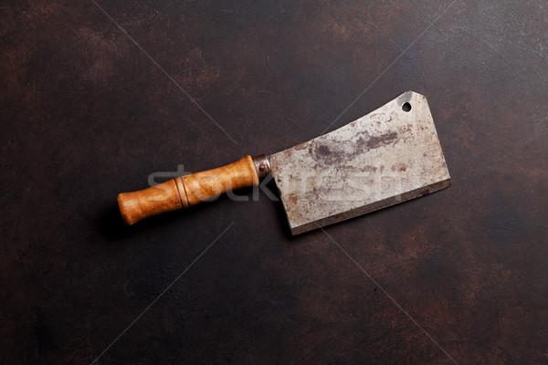 Slager vintage vlees mes steen tabel Stockfoto © karandaev